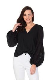 Черная хлопковая блуза с объемными рукавами