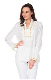 Белая рубашка с бохо вышивкой