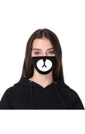 Черная защитная маска с принтом мордочки