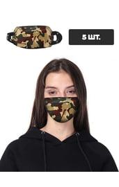 Защитная маска с камуфляжным принтом, 5 шт.