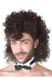 Мужской коричневый кудрявый парик