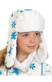 Белая шапка-ушанка