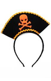 Черно-оранжевый карнавальный ободок Пират