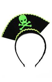 Черно-зеленый карнавальный ободок Пират
