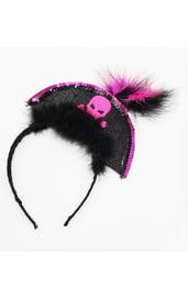 Черно-розовый карнавальный ободок Пират