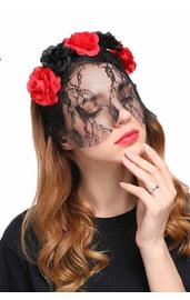Цветочный ободок с вуалью