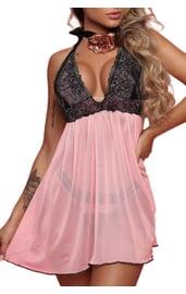 Розовый бейбидолл с черным кружевным лифом