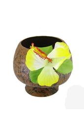 Кокосовая чашка с желтым цветком