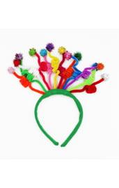 Зеленый карнавальный ободок со спиральками