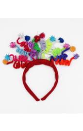 Красный карнавальный ободок со спиральками