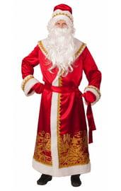 Взрослый костюм Деда Мороза с золотым принтом