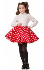Детская красная юбка в горошек