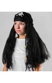 Черный парик пирата с банданой