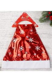 Красный колпак со снежинками