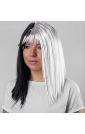 Черно-белый парик каре
