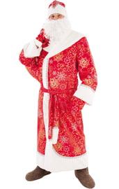 Взрослый красный костюм Деда Мороза с узорами