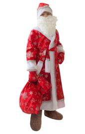 Детский красный костюм Деда Мороза с узорами