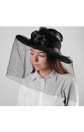 Шляпа с вуалью черная